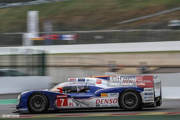 LMP1 class Toyota Racing Toyota TS030 Hybrid of Alexander Wurz / Nicolas Lapierre / Kazuki Nakajima in action during Free Practice 1 at Round 2 of...