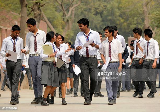 Class XII students coming out from an examination centre after appearing in their CBSE English paper on March 1 2016 in Noida India CBSE class X and...