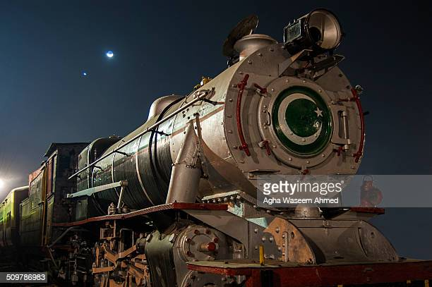 Class YD 2-8-2 locomotive No. 518, a veteran of meter-gauge railway, now at display as a monument outside Pakistan Railway's Sukkur station.