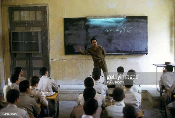 Classe dans l'école militaire secondaire pour garçons à Damas en Syrie
