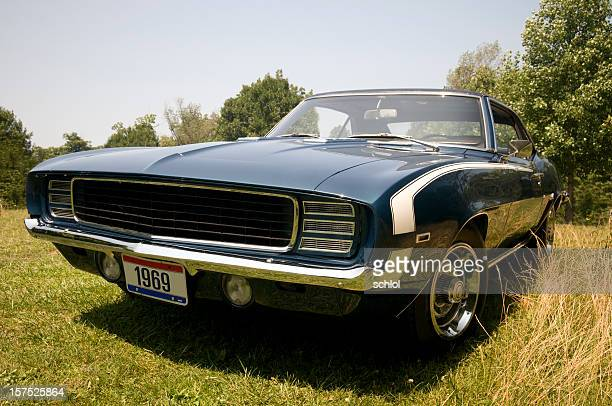 classic 1969 camaro outside - hot rod car stock photos and pictures