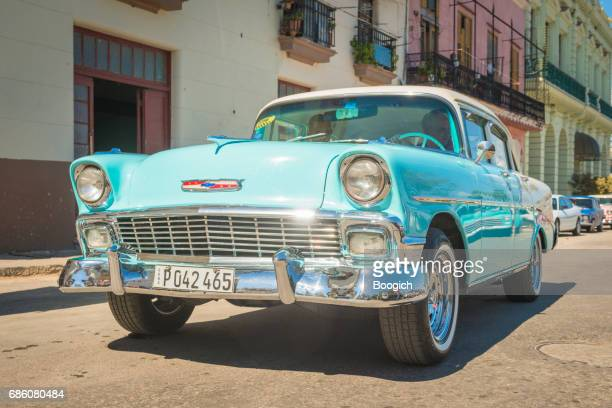 classic american car 1950s chevrolet bel air taxi havana cuba - chevrolet stock pictures, royalty-free photos & images