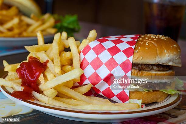 CONTENT] Classic American diner fare hamburger and french fries