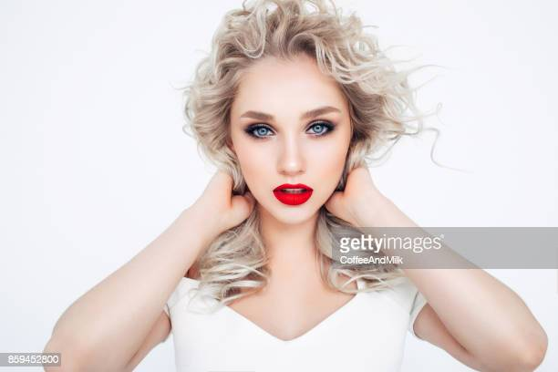 classic beauty - bleached hair stock photos and pictures