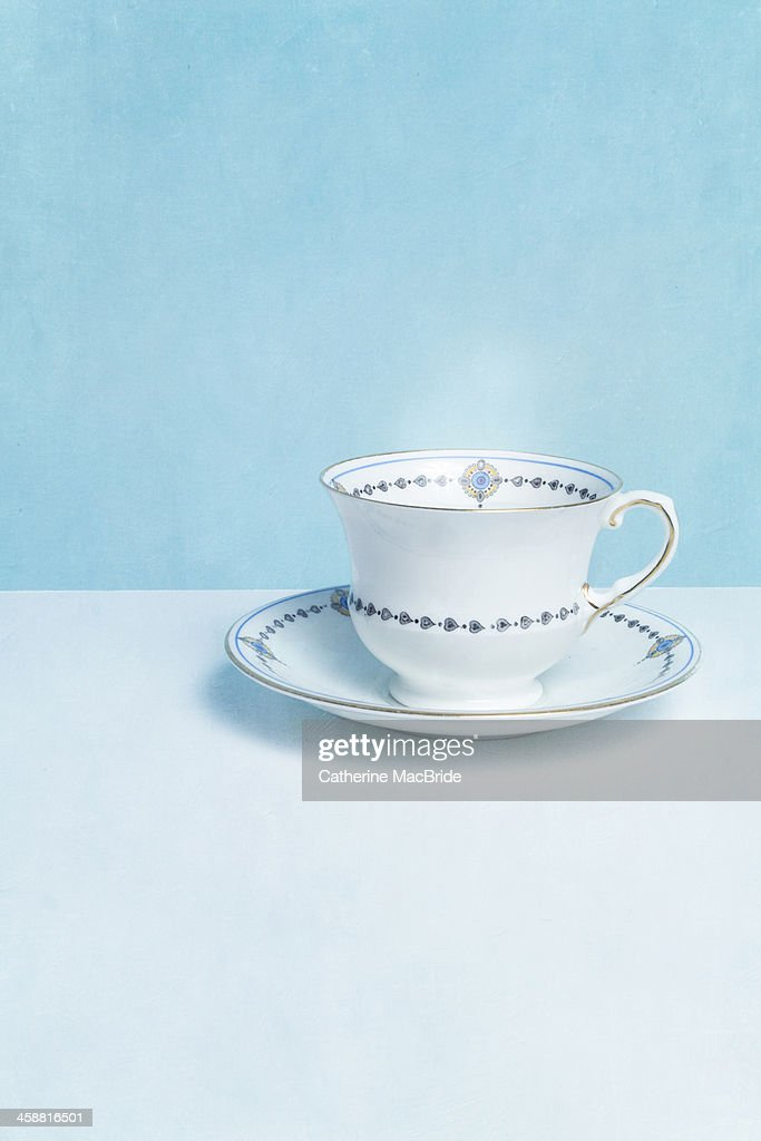 Classic blue and white tea cup : Stock Photo