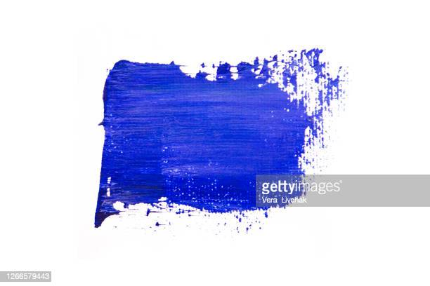 classic blue oil paint stroke isolated on white background. - painting art product stock pictures, royalty-free photos & images