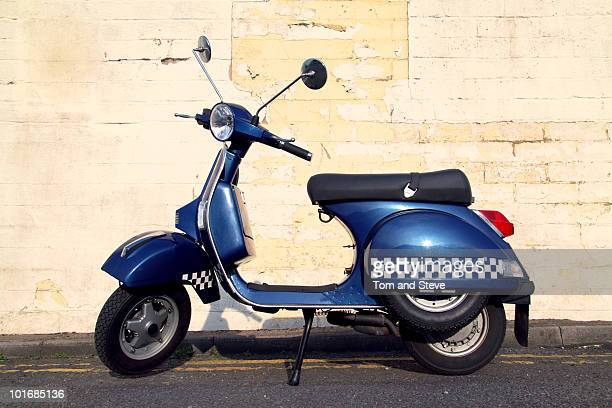 classic blue scooter - moped stock photos and pictures