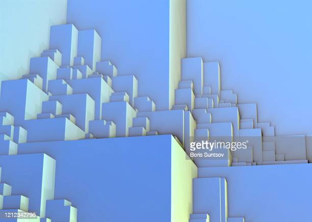 classic blue stacking - futuristic idea - large group of objects stock pictures, royalty-free photos & images