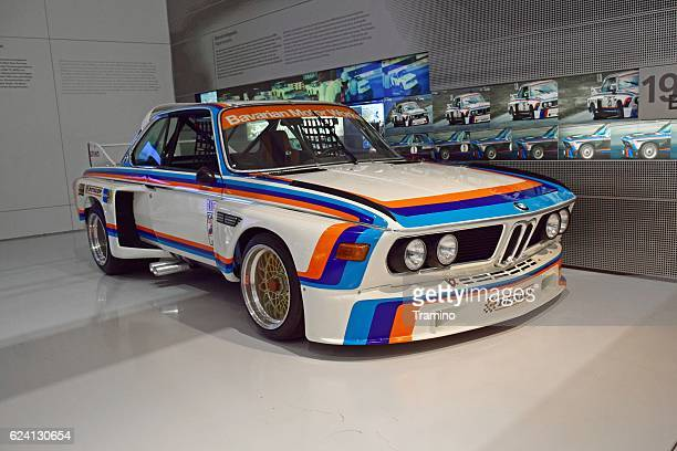 classic bmw 3.5 csl in the showroom - rally car stock photos and pictures