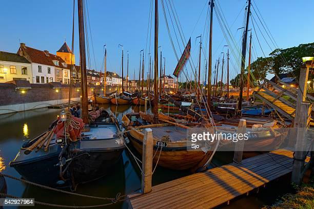 Classic Botter sailing boats in the Kampen marina