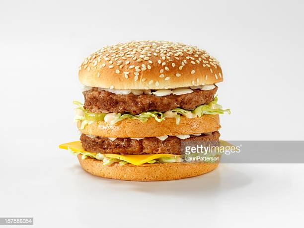 classic burger with special sauce - symmetry stock pictures, royalty-free photos & images