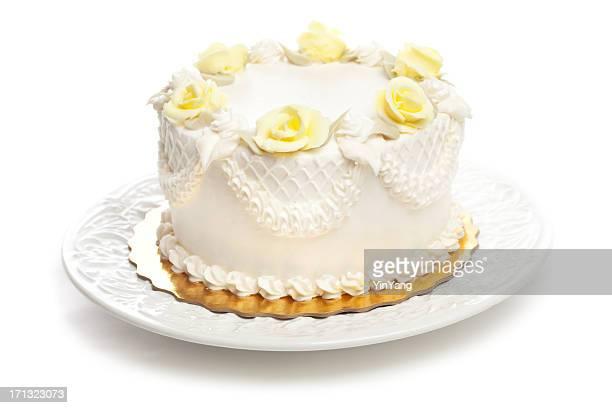 Gâteau classique avec Glaçage blanc et Rose jaune décoration Hz