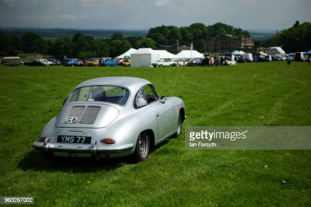 A classic car arrives to display during the Duncombe Park Country Fair on May 28 2018 in Helmsley England Set in the grounds of one of Yorkshire's...
