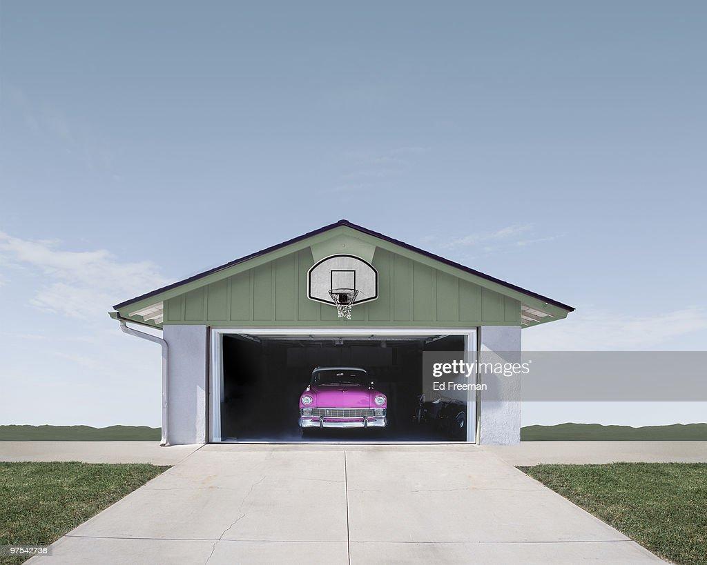 Classic Car in Suburban Garage : Stock Photo