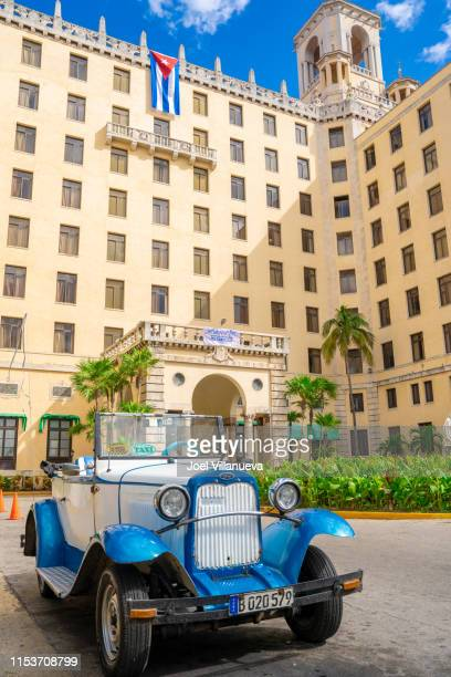 classic car parked in front of the hotel nacional de cuba - image title stock pictures, royalty-free photos & images