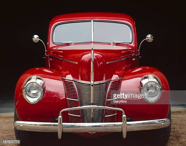 Classic car-Bright Red,front view-close-up