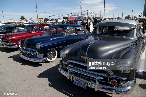 Classic cars are displayed during the Viva Las Vegas Rockabilly Weekend's car show at the Orleans Arena on April 20 2019 in Las Vegas Nevada