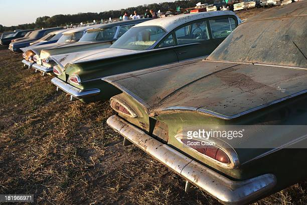 Classic cars are lined up for auction in a field on the Lambrecht family farm on September 26 2013 in Pierce Nebraska The cars about 500 total from...