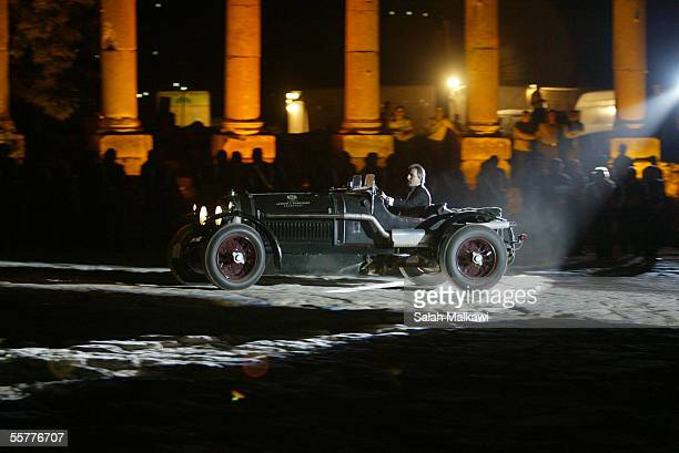 Classic cars are shown by their owners September 26 2005 in the ruins of the Roman city of Jerash Jordan The tour of September 2005 featured 50...