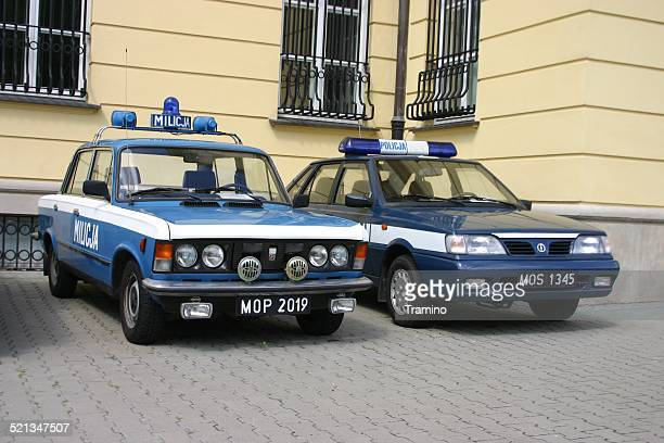 classic cars from polish militia and police - law enforcement appreciation stock pictures, royalty-free photos & images