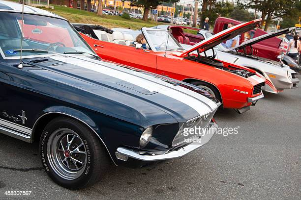 classic cars in a row - car show stock pictures, royalty-free photos & images