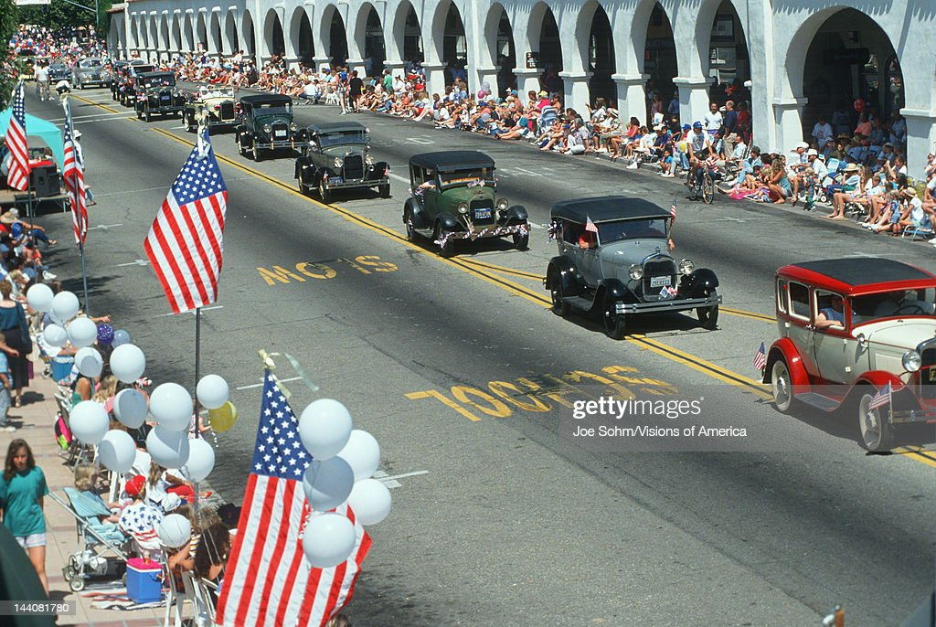 Classic cars in Independence Day Parade, Ojai, CA Pictures | Getty ...