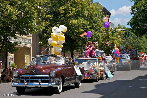 classic cars in parade. - parade stock pictures, royalty-free photos & images