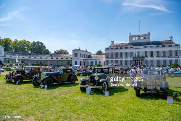 Classic cars including Bentley and Butgatti's on display at the 2019 Concours d'Elegance at palace Soestdijk on August 25 2019 in Baarn Netherlands...