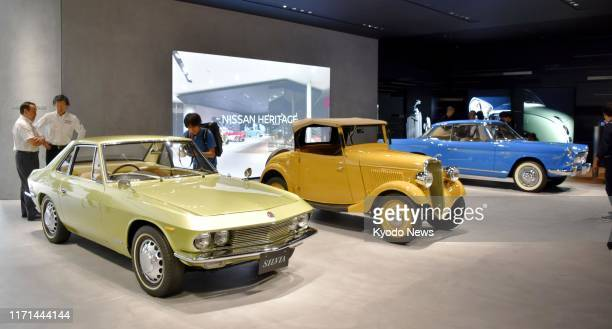 Classic cars of Nissan Motor Co including the Datsun 14 Roadster and the Skyline Sports Coupe are displayed at the automaker's headquarters in...