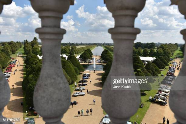 Classic cars on display at the Concours de Elegance at Hampton Court Palace on September 1, 2017 in London, England. The show brings together a...