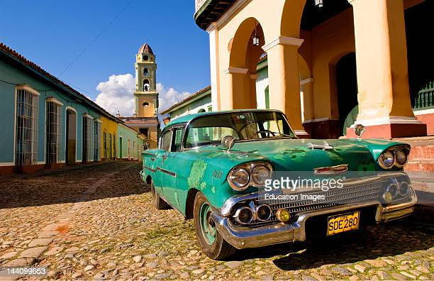 Classic Chevy On Cobblestone Street In Center Square Of Trinidad Cuba