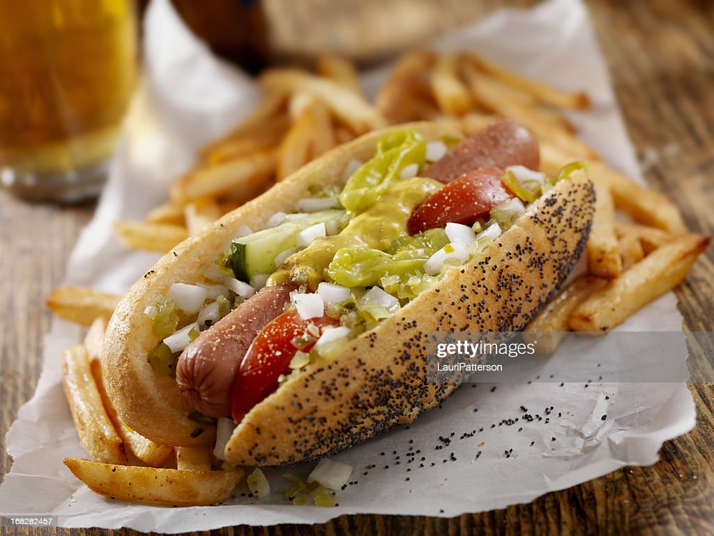 Classic Chicago Dog with Fries : Stock Photo
