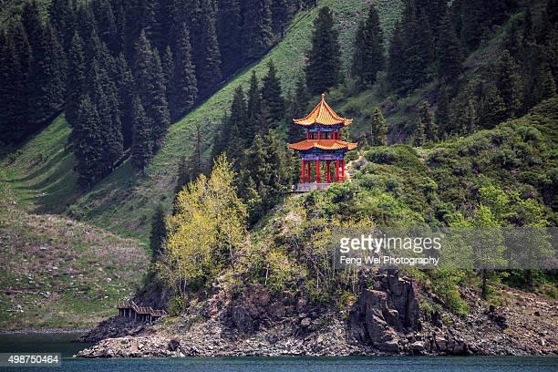 Classic Chinese Pavilion@ Tianchi (Heaven Lake), Xinjiang China
