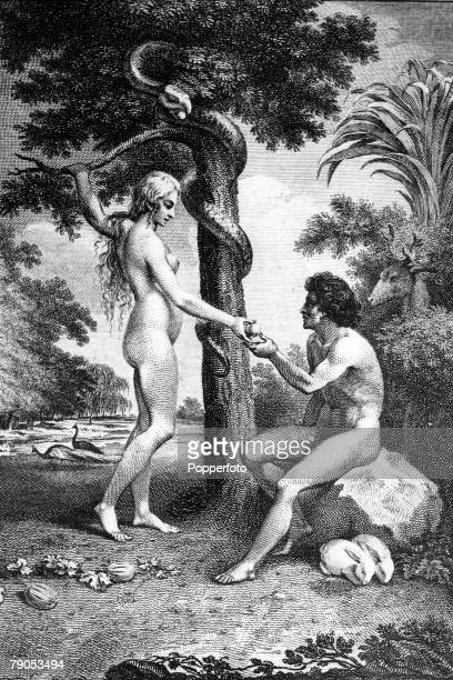 Classic Collection Page 118 A Biblical illustration showing Eve tempting Adam with the apple in the Garden of Eden