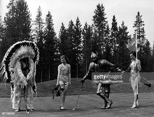 Classic Collection Page 141 Four people playing golf two women in swimsuits one man dressed as Indian Chief and other man in suit of armour Banff...