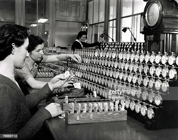 44 12th February Cricklewood London England Women workers checking newly made watches at Smiths clock factory