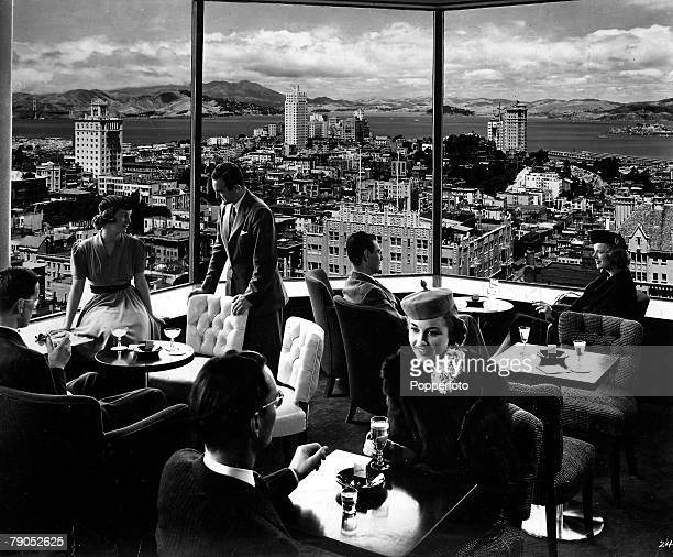 Classic Collection Page 78 Diners in a restaurant with a view of the cityfrom the Mark Hopkins Hotel Nob Hill San Francisco USA