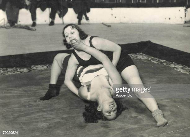 Classic Collection Page 83 Madrid Spain Two professional female wrestlers in a championship