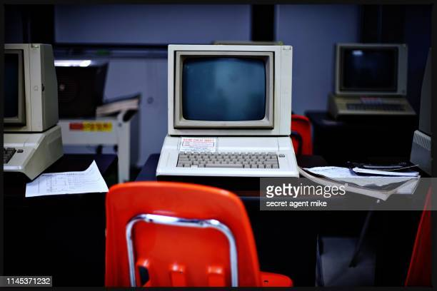 classic computer classroom - the past stock pictures, royalty-free photos & images