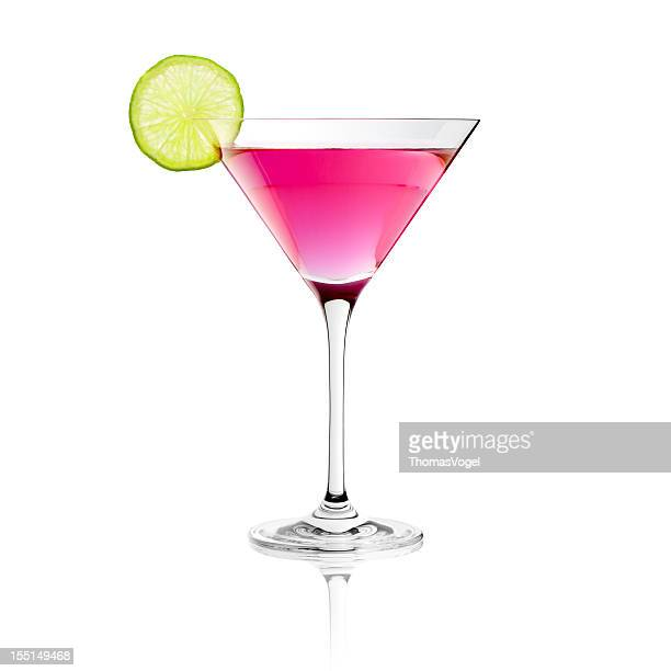Classic Cosmopolitan Drink with Lime Decoration - Cocktail Glass Martini