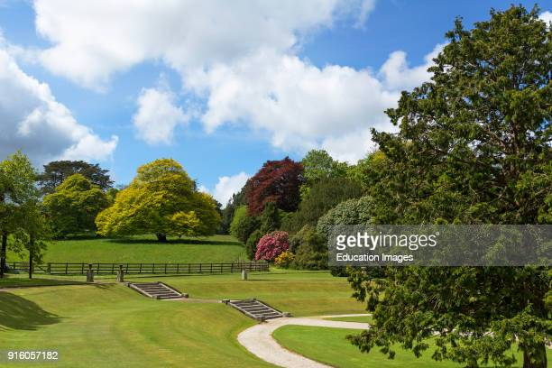 A Classic Country Garden Landscape At Pencarrow House Near Bodmin In Cornwall England Uk