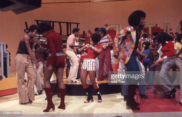 A classic dance scene from Soul Train episode 31 aired 9/23/1972 featuring iconic dancers Damita Jo Freeman and Pat Davis in red white and blue