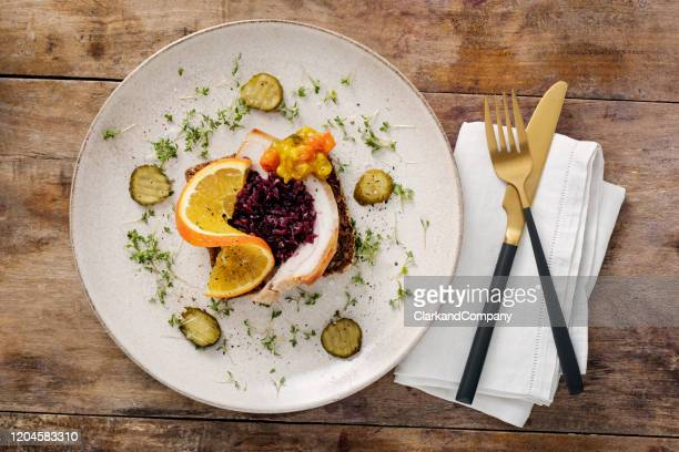 classic danish smorrebrod ribbensteg sandwich - danish culture stock pictures, royalty-free photos & images