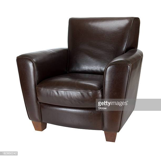 Classic dark brown leather armchair photograph advertisement