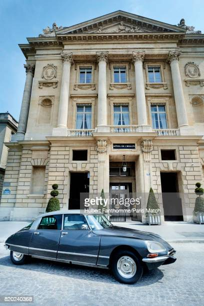 A classic Ds Citroen Car in front of the Crillon Hotel photographed for Paris Match on June 22 2017 in Paris France