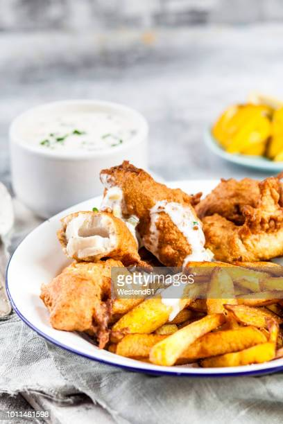Classic english fish and chips with tartare sauce