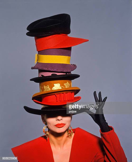 classic fashion shot - hat stock photos and pictures