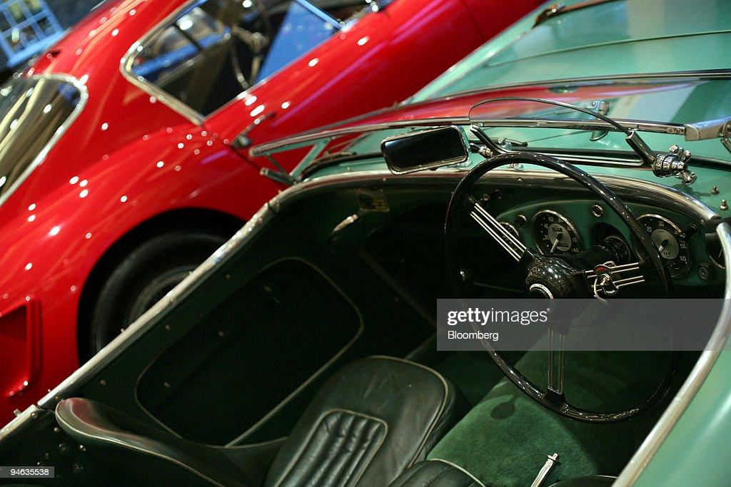 Classic Ferraris sit on display inside the Cars Internationa : News Photo