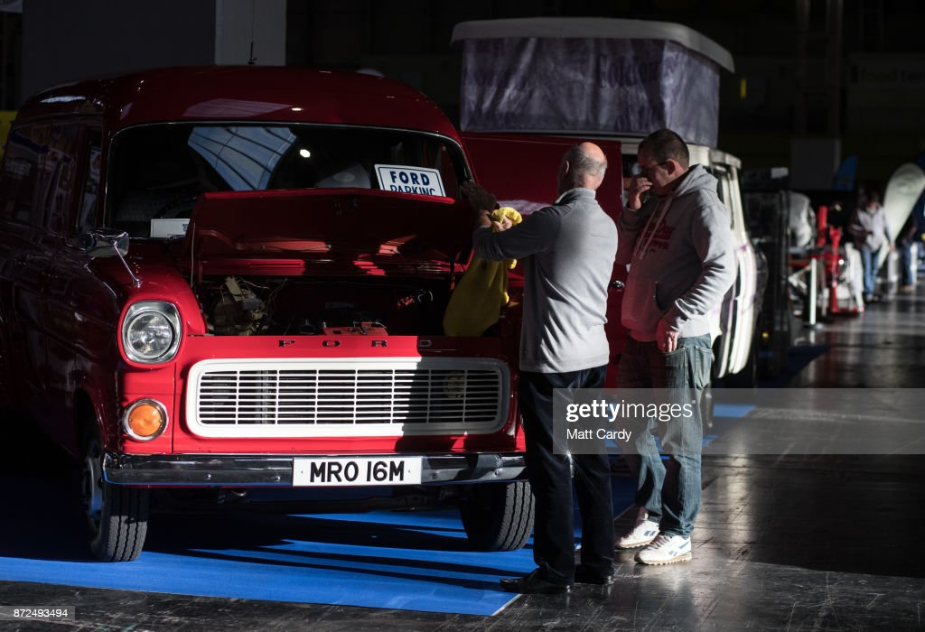 A classic Ford Transit van is cleaned on the first day of the Lancaster Classic Motor Show at the NEC Birmingham on November 10, 2017 in Birmingham, England. According to a recent survey by the Federation of British Historic Vehicles Clubs, the historic vehicle industry currently generates revenues in excess of £5.5 billion per year for the UK economy, and while current government policy is to promote self-driving and low carbon cars, according to Transport Minister Chris Grayling his party is also committed to supporting owners of classic cars, and those that want to continue to use them on the road in the future.