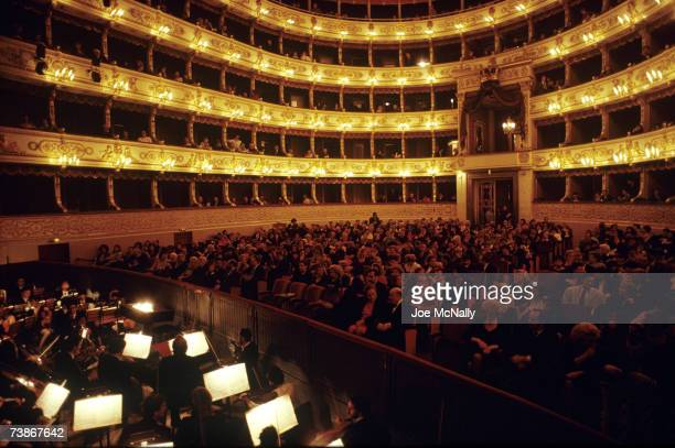 A classic goldgilded European concert hall just before curtain on January 1 1997 in Moscow Russia